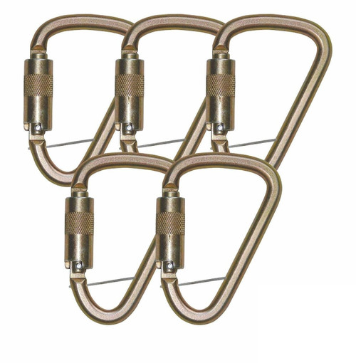 FallTech 8450 Steel Carabiner with Double Locking Gate (5 Pack)