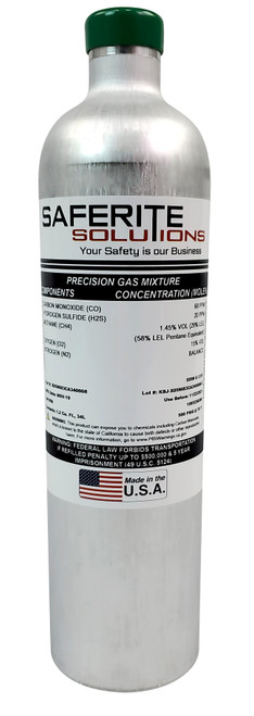Calibration Gas Cylinder (CH4/LEL, O2, CO and H2S)