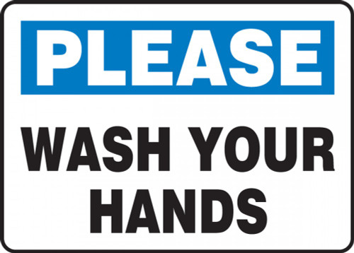 Please Wash Your Hands Sign (10'' x 14'')