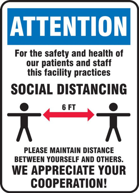 Attention Safety And Health Social Distancing Sign (14'' x 10'')