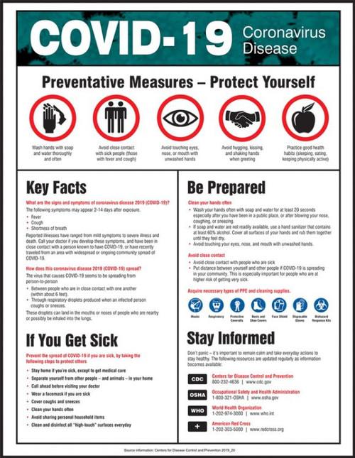 COVID-19 Coronavirus Disease Awareness Poster ( 28'' x 22'')