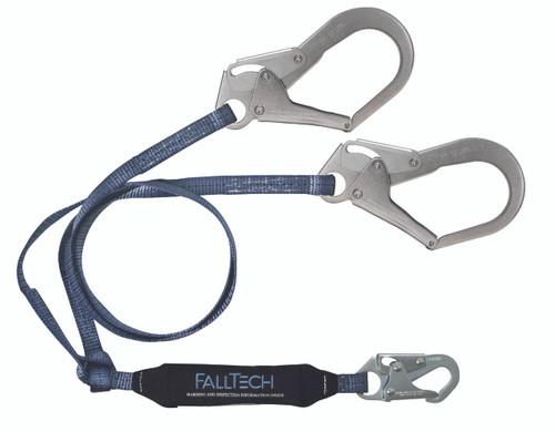 FallTech 8260733 Double Shock Absorbing Lanyard with Rebar Hooks 3'