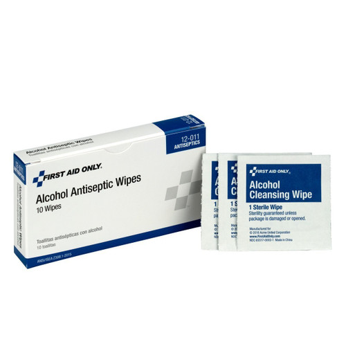 First Aid Only 12-011 Alcohol Wipes 10 per Box (10 Boxes)