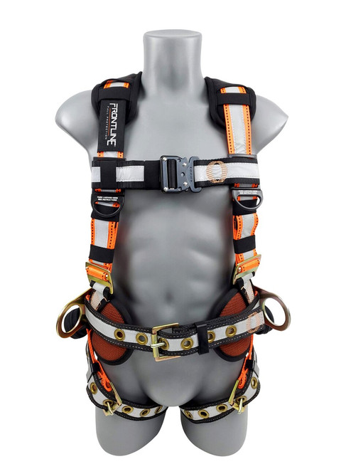 Frontline Combat Reflective Construction Full Body Harness with Tongue Buckle Legs and Trauma Straps