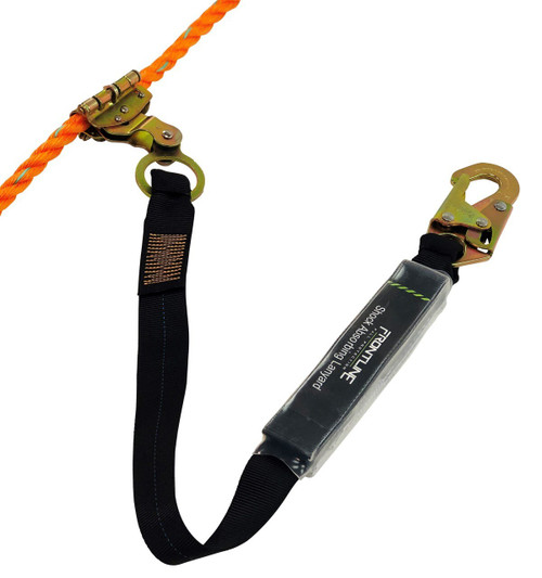 "Frontline Self-tracking Rope Grab 5/8"" with 3' Lanyard"