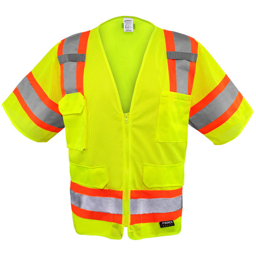 Fierce Safety EC1003G Class 3 Green Meshed Two Tone Surveyors Vest