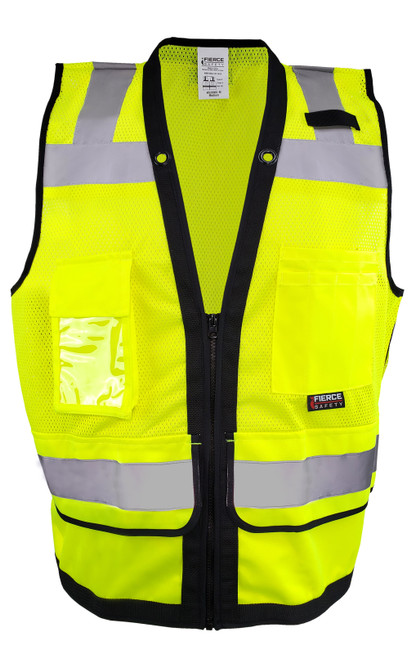 Fierce Safety SU300G Class 2 Green Reflective Surveyors Vest