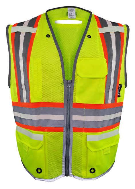 Fierce Safety LU300G Class 2 Luminous Reflective Premium Surveyors Vest