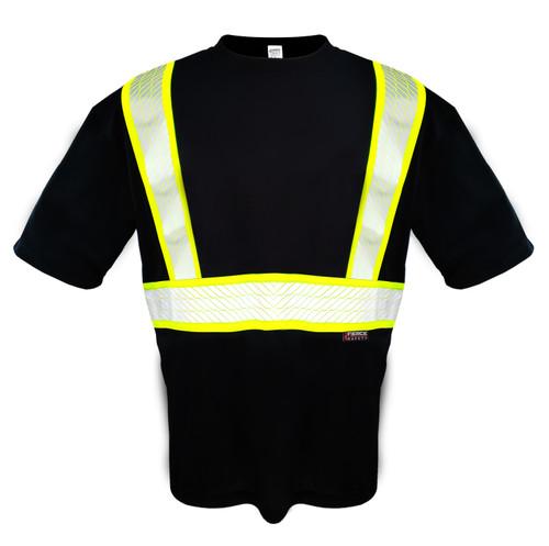 Fierce Safety SN300B High Vis Moisture Wicking Short Sleeve Black Shirt