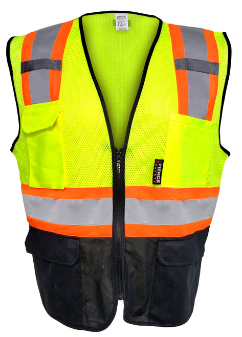 Fierce Safety Surveyors Class 2 Meshed Vest with Orange Trim and Black Bottom