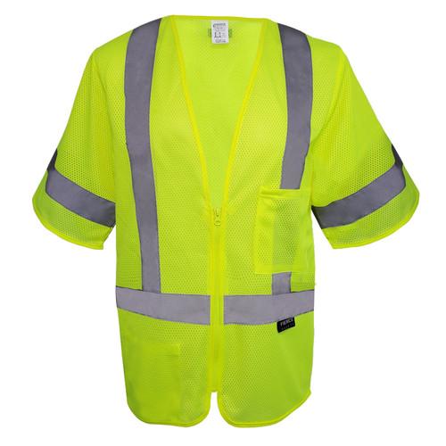 Fierce Safety Economy Short Sleeve Green Meshed Back Vest