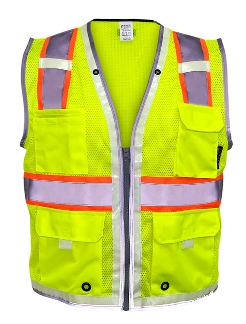 Fierce Safety Brilliant Surveyors Class 2 Meshed Green Vest with Luminous Reflective Tape