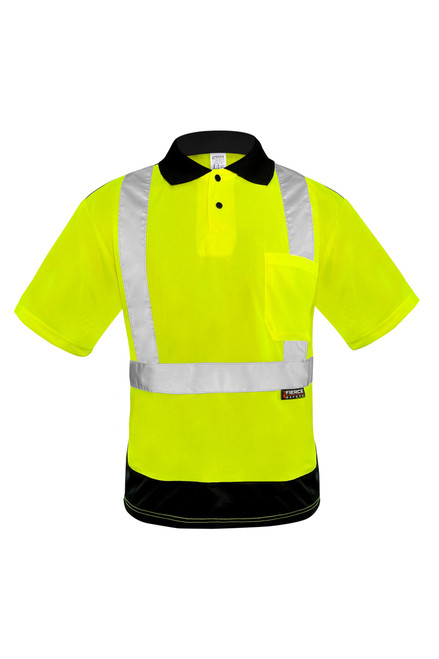 Fierce Safety Hi Viz Green Class 2 Polo with Black Trim and Moisture Wicking Technology