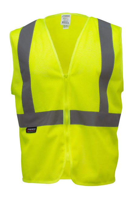 Fierce Safety ECO100 Class 2  Economy Meshed Vest with Zipper Closure