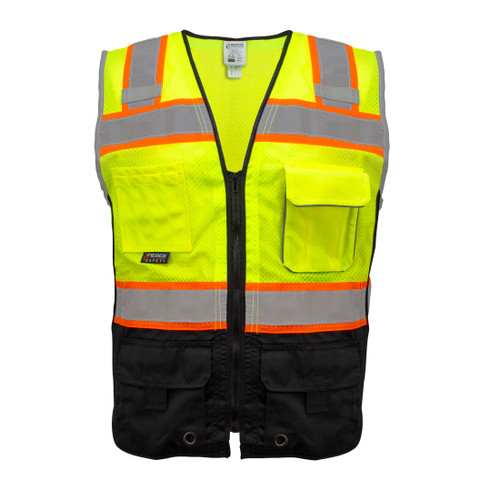 Fierce Safety SU400 Superior Surveyors Class 2 Meshed Two Tone Black Bottom Vest and Tablet Pockets