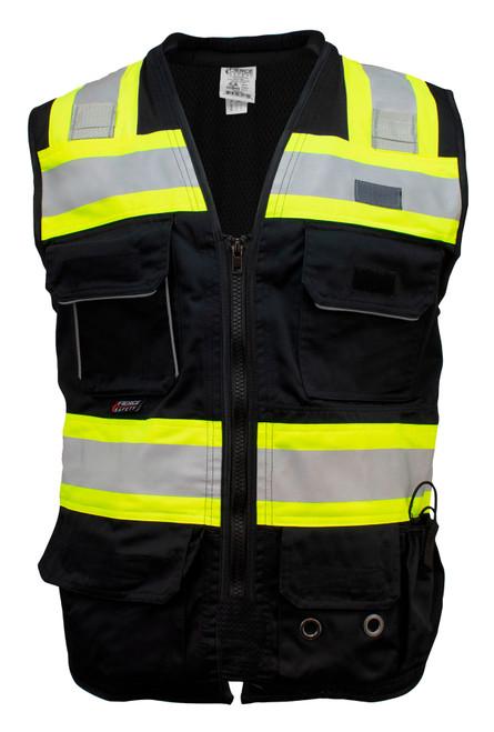 Fierce Safety SU500B Premium Surveyors Class 1 Black Heavy Duty Vest, Tablet Pockets and Neck Padding