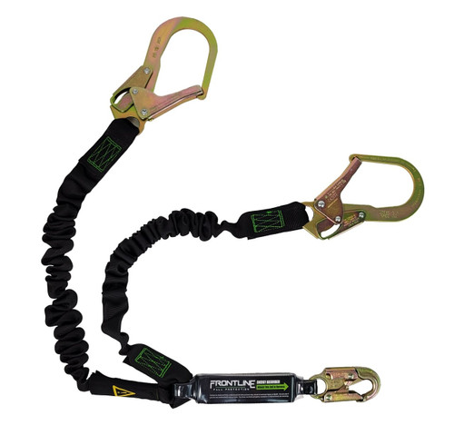Frontline Patriot™ Double Leg Elastic Lanyard with Rebar Hook Ends - Made in USA