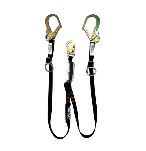 Frontline Combat 6' Tie-Back Double Leg Shock Absorbing Lanyard with Rebar Hooks