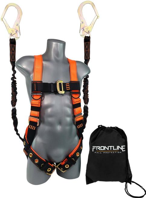 Frontline Combat™ Compliance Kit - Harness, 6' Double Rebar Hook Leg Lanyard and Drawstring Bag
