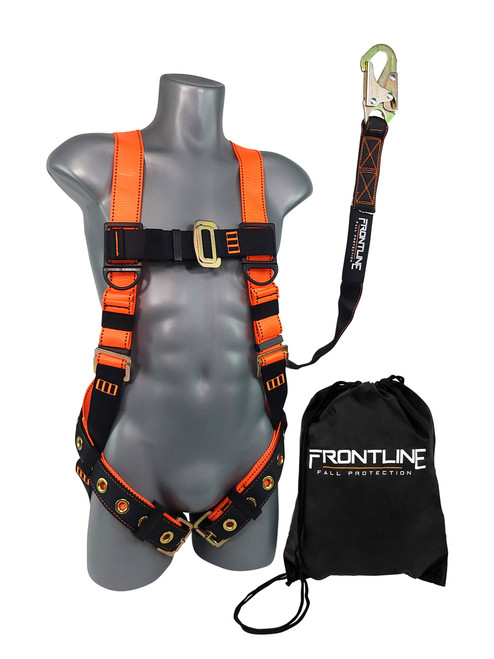 Frontline Combat™ Compliance Kit - Harness, 6' Single Leg Lanyard and Drawstring Bag
