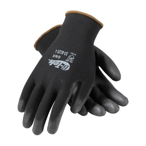 G-Tek 33-B125 Black Nylon Gloves with Polyurethane Grip