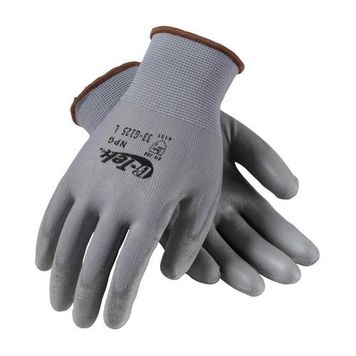 G-Tek 33-G125 Gray Seamless Gloves with Polyurethane Grip