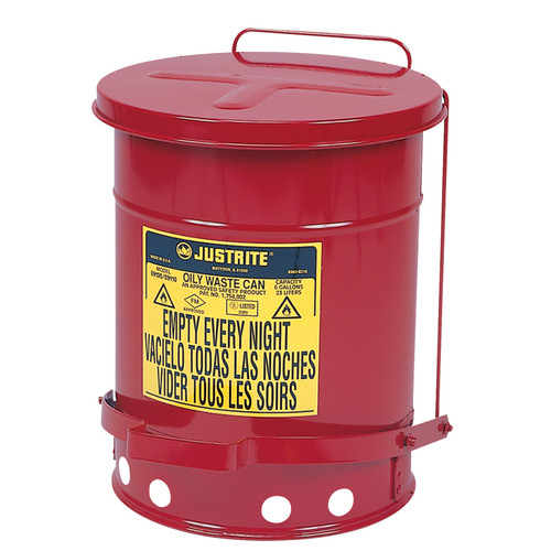 Justrite 09700 Oily Foot-Operated Waste Can (21 Gal./Self Closing)