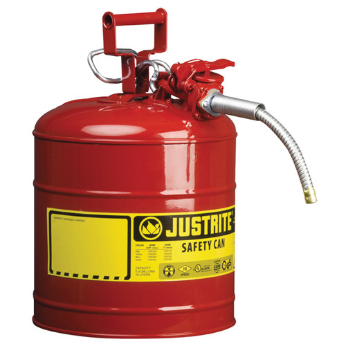 """Justrite 7250120 Steel Safety Can for Flammables with Hose 5/8"""" 5 Gal"""