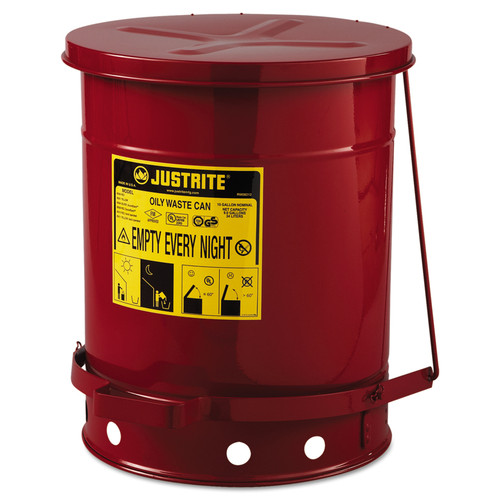 Justrite 09300 Oily Foot-Operated Waste Can (10 Gal./Self Closing)