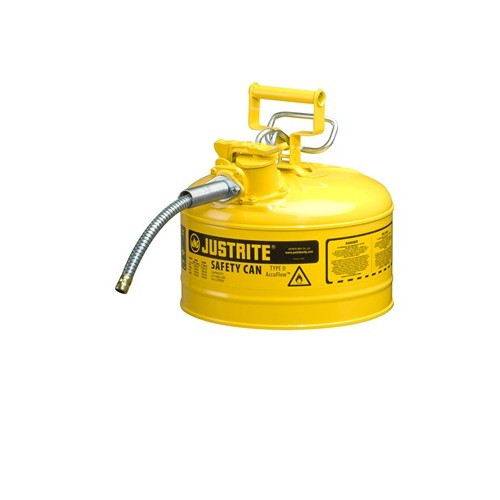 "Justrite 7225230 Steel safety Can for Diesel 2.5 Gal 1"" Metal Hose"