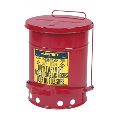 Justrite 09100 Oily Foot-Operated Waste Can (6 Gal./Self Closing)
