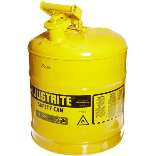 Justrite 7150200 Steel Safety Can for Diesel 5 Gal Yellow