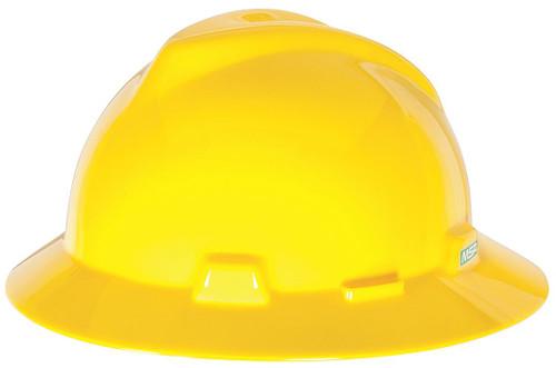 MSA 454730 V-Gard Full Brim Yellow Hard Hat with Staz-On Suspension