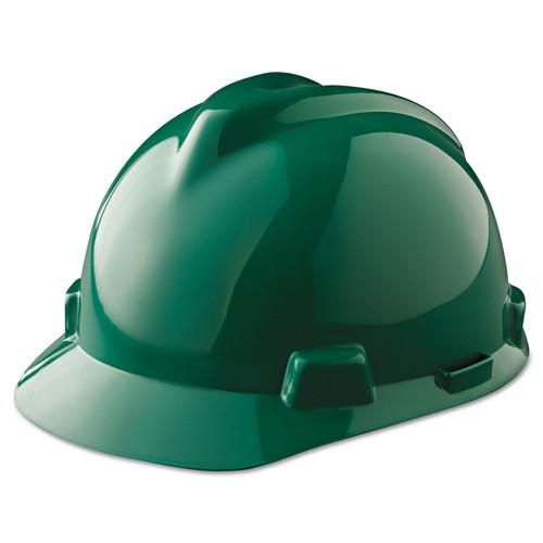 MSA 475362 V-Gard Green Hard Hat with Ratchet Suspension (Cap Style)
