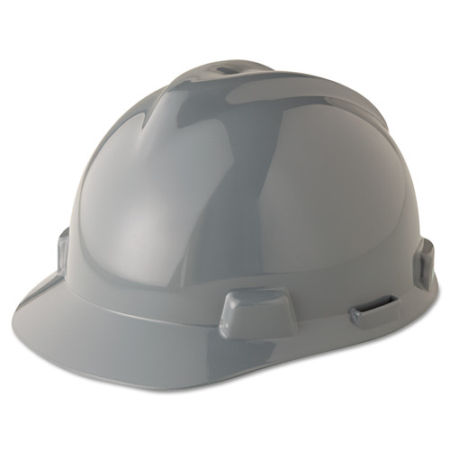 MSA 475364 V-Gard Gray Hard Hat with Fas-Trac Suspension (Cap Style)