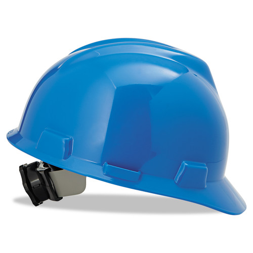 MSA 475359 V-Gard Blue Hard Hat with Fas-Trac Suspension (Cap Style)