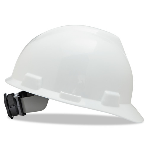 MSA 475358 V-Gard White Hard Hat with Fas-Trac Suspension (Cap Style)