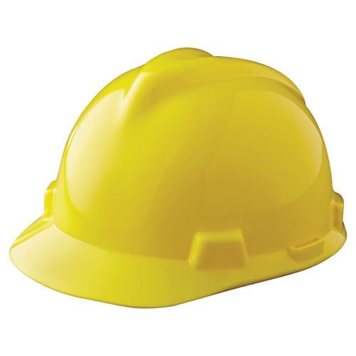 MSA 463944 V-Gard Yellow Hard Hat with Staz-On Suspension (Cap Style)