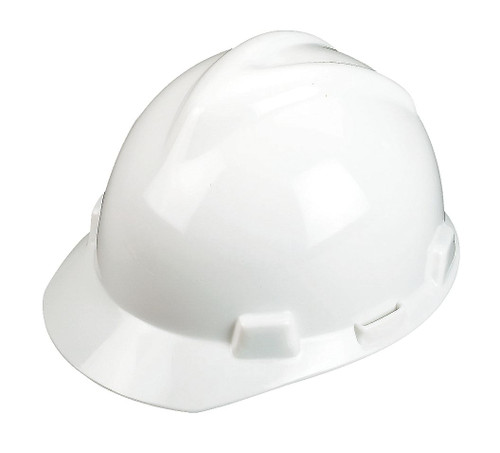 MSA 463942 V-Gard White Hard Hat with Staz-On Suspension (Cap Style)