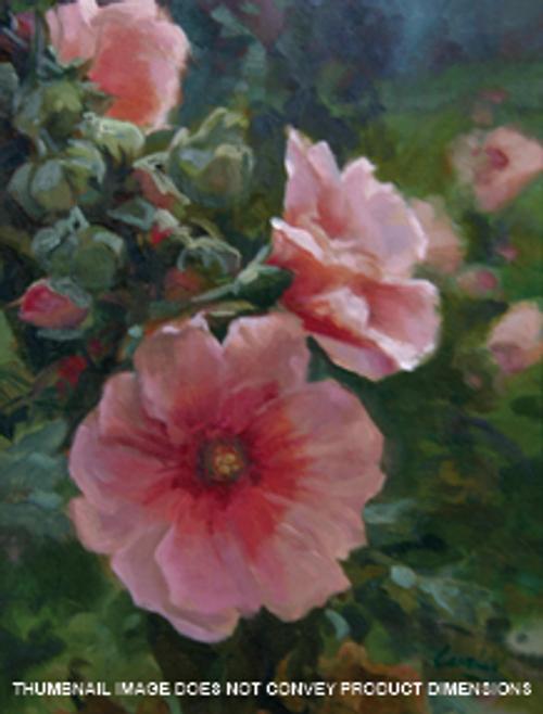 Soft Pink Hollyhocks