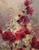 Linda Curley Christensen Hollyhocks in Red