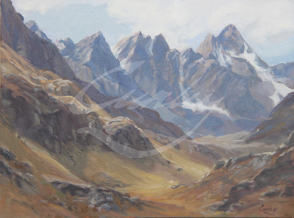 Linda Curley Christensen Andes Mountains in Tan