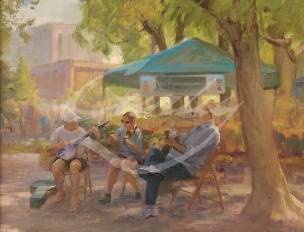 Linda Curley Christensen Musicians at Pioneer Park