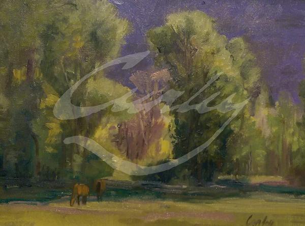 Linda Curley Christensen Horses Grazing in Meadow