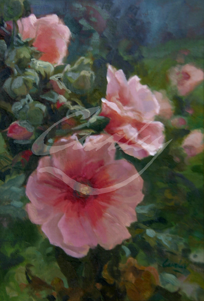 Linda Curley Christensen Soft Pink Hollyhocks