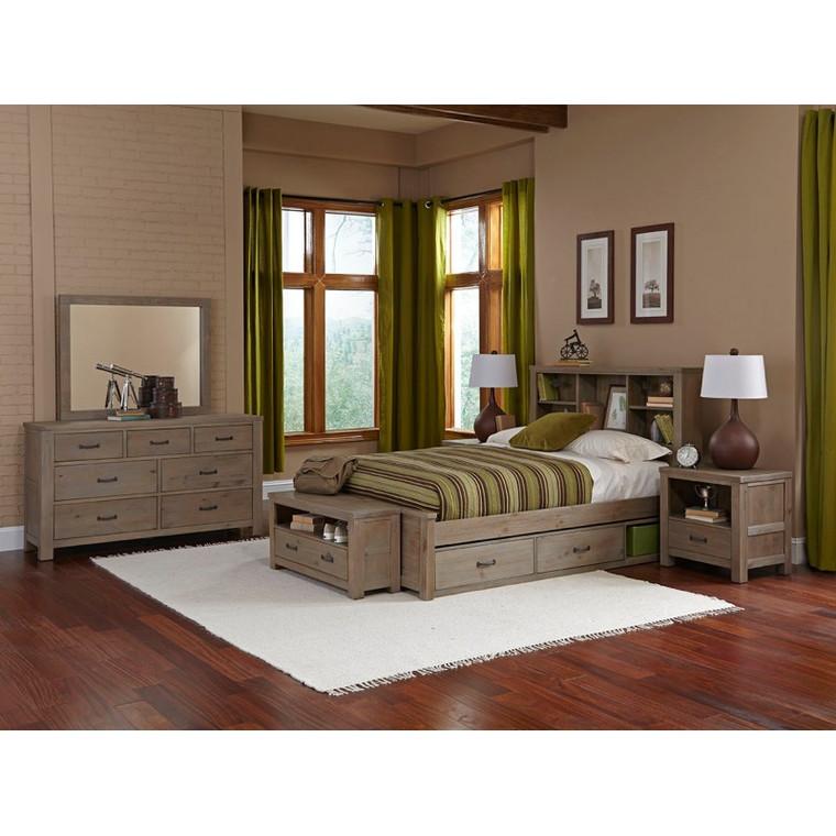 Boulder Full Bookcase Bed (Driftwood)