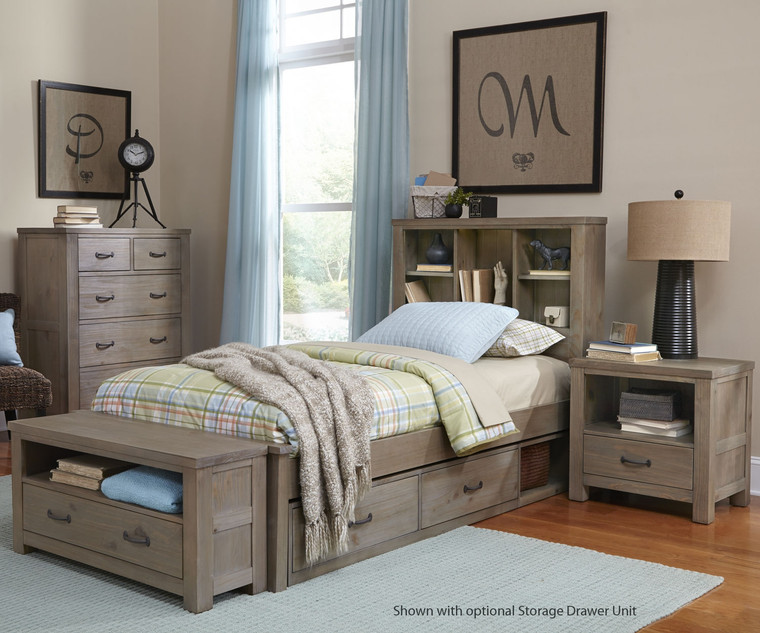 Boulder Twin Bookcase Bed (Driftwood)