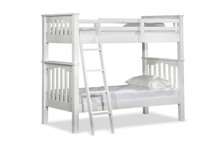 Boulder Twin Over Twin Slatted Bunk Bed (White)
