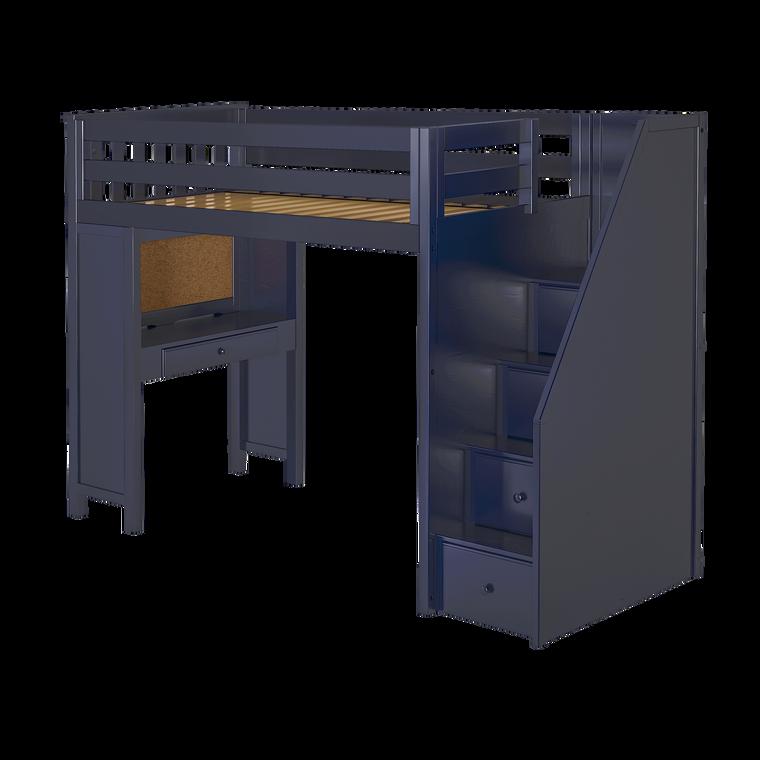 Jackpot Study Loft Bed w/ Staircase (Navy Blue)