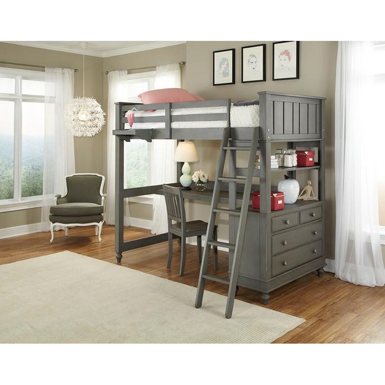 Lake House Twin Loft w/ Desk (Stone)